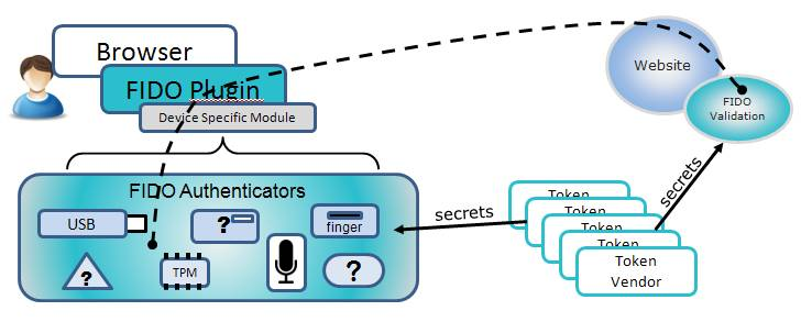 The FIDO Alliance's diagram explaining how its authentication sc