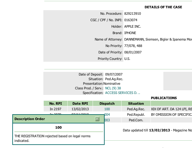 Screengrab Brazil's patent and trademark office, Apple trademark