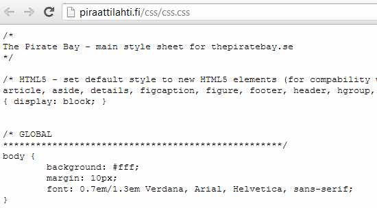 Pirated CSS