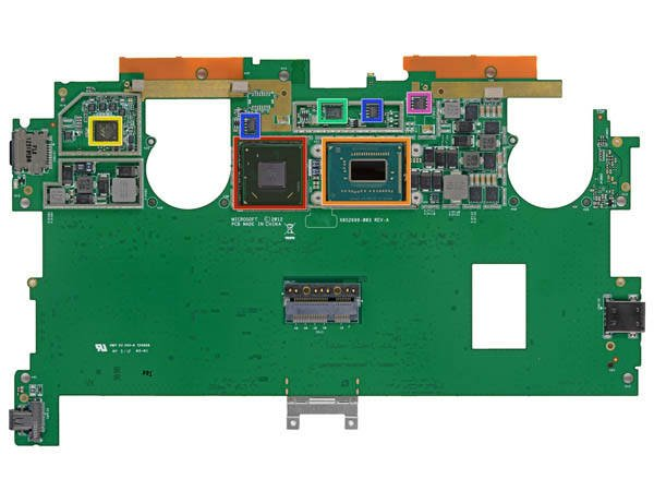 Microsoft Surface Pro logic board, bottom