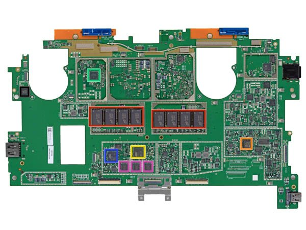 Microsoft Surface Pro logic board, top