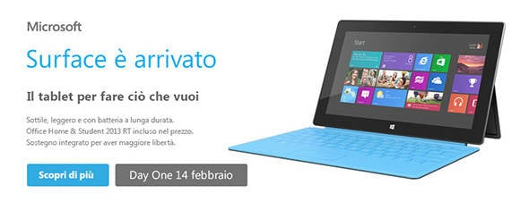 Online ad for Surface RT in Italy
