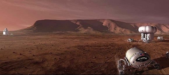 Artist's impression of a manned mission to Mars