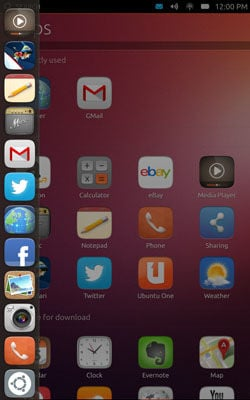 Screenshot of Ubuntu running on a Nexus 7 tablet