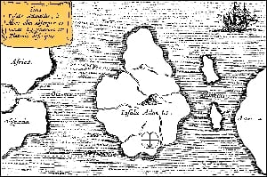 Athanasius Kircher's map of Atlantis c. 1669, North is at the bottom