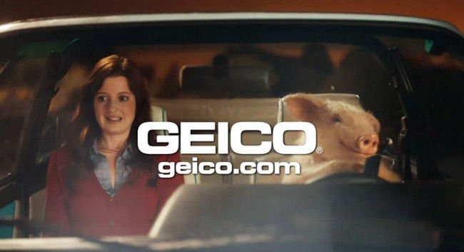 The young woman and Maxwell the pig in the offending advert