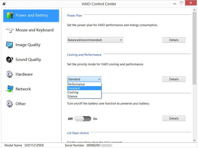 Sony Vaio Control Centre
