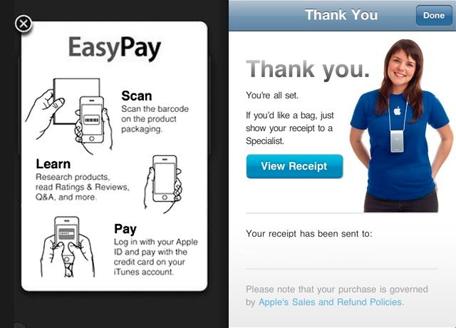 Apple's Apple Store app for in-store payments