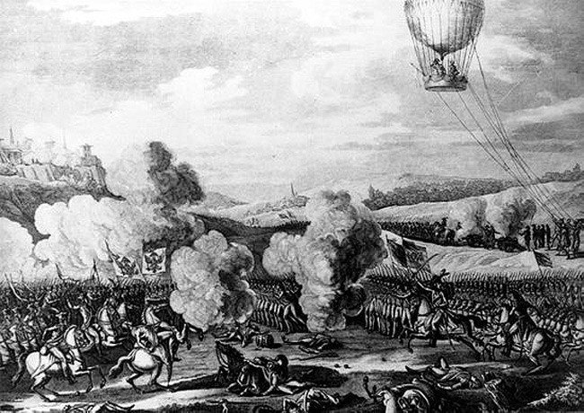 L'Entreprenant over the battle of Fleurus
