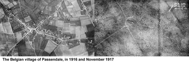 Passendale intact in 1916 and destroyed in 1917