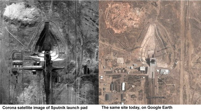 The Sputnik launch pad, as seen by Corona and today on Google Earth