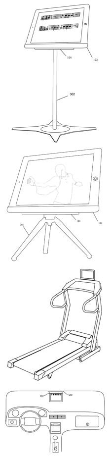 Apple magnetic-iPad-stand patent illustrations of a music stand, desktop tripod, treadmill stand, and in-car attachment