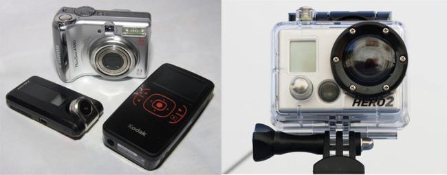 The FlyCamOne, Canon PowerShot A560, Kodak Zx1 and GoPro HD HERO