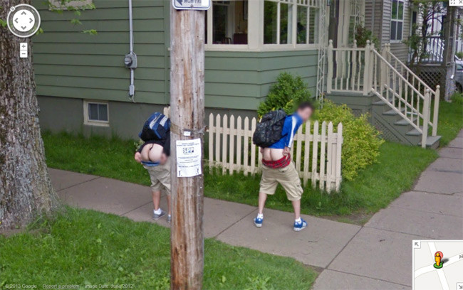 Two lads in Nova Scotia flash their arses on Street View