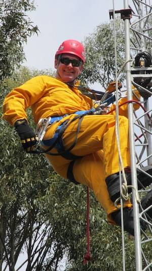 Richard Youd undergoing tower rescue training. Photo Copyright Doug McVeigh