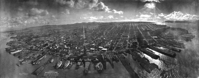 San Francisco seen from a kite after the 1906 earthquake. Pic: US Library of Congress