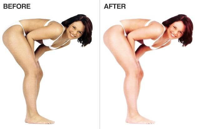 The before and after effects promised by Dove's fake Photoshop action