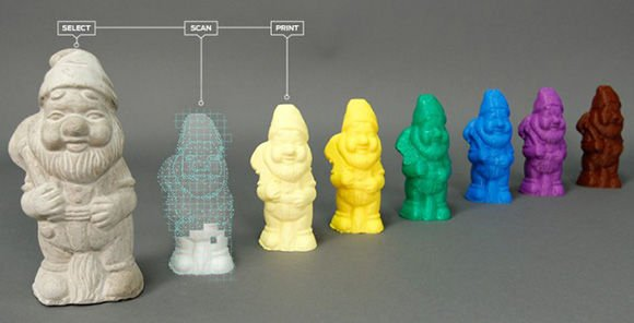 Photo of a 3D printed garden gnome that was scanned with MakerBot's Digitizer