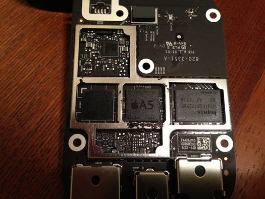 The Apple TV's smaller A5 processor (source: MacRumors)
