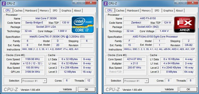 CPU Z readout for Intel and AMD