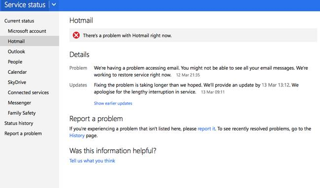 hotmail &amp; outlook outage