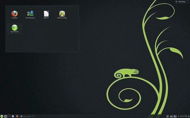 Screenshot of the openSUSE 12.3 desktops without applications running