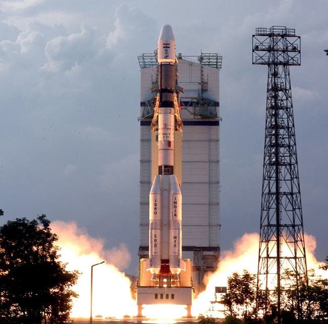 India's Geostationary Satellite Launch Vehicle (GSLV) blasts off from Satish Dawan Space Center at Sriharikota in September 2004. Pic: Indian Space Research Organisation