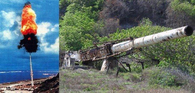 The HARP gun firing, and as it is today, abandoned in Barbados