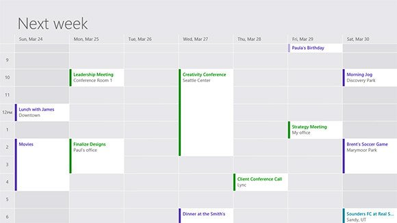 Screenshot of Windows 8's redesigned Calendar app