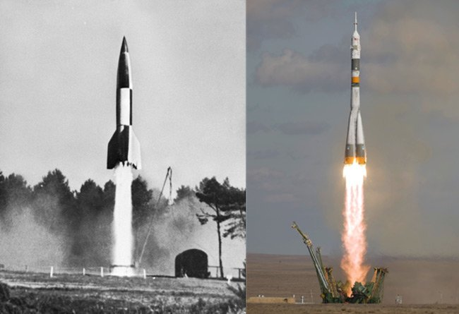 Launches of a V2 and Soyuz