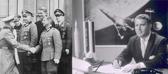 Wernher von Braun at Peenemünde in 1942 (left), and in his office the US