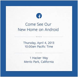 Facebook's cryptic invite to its Android event on April 4