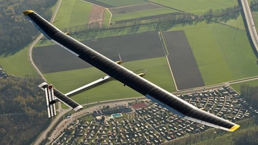 The Solar Impulse HB-SIA flies over Switzerland during an April 2011 test flight