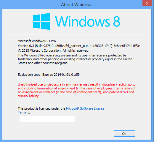 Screenshot showing Windows 8.1 branding