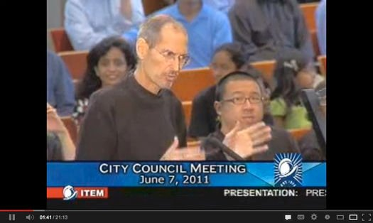 Steve Jobs presents Apple's headquarters plan to the Cupertino city council on June 7, 2011