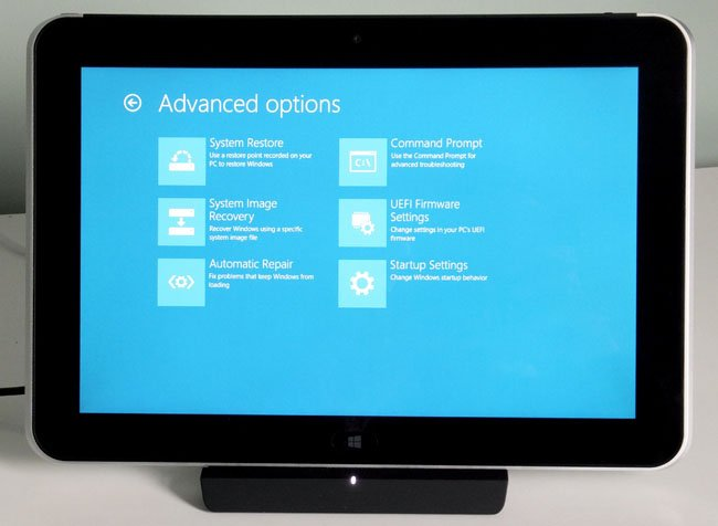 HP ElitePad 900 Windows 8 Pro tablet advanced options