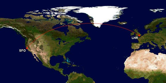 Flight path from San Francisco to Heathrow airports