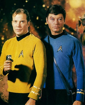 Captain Kirk and Dr McCoy from the original Sta