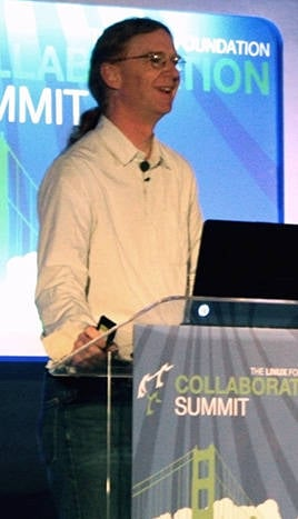 Photo of Jonathan Corbet at Linux Collaboration Summit 2013