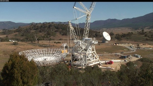 Ready to lift: 35 metre dish at Tidbinbilla