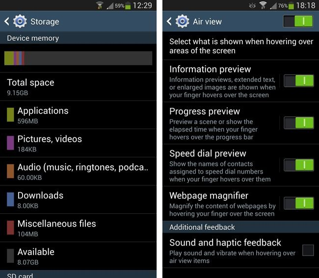 Samsung Galaxy S4 options