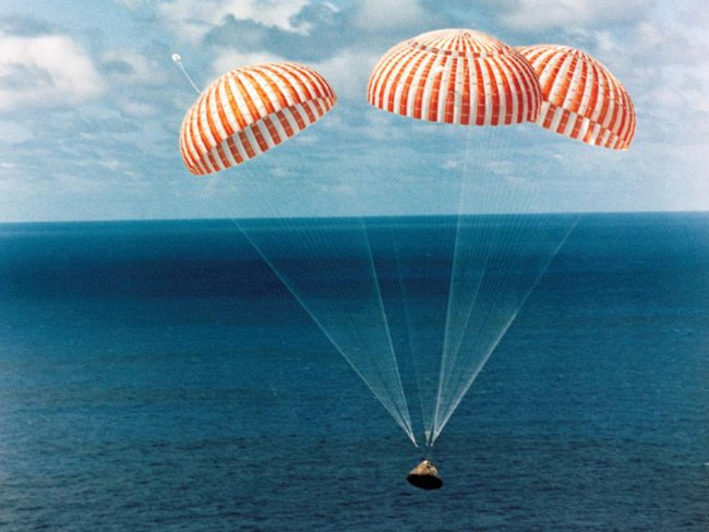 Apollo 14 capsule just before splashdown in the Pacific in 1971. Pic: NASA
