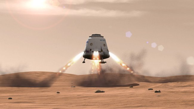 Artist's rendition of a Dragon spacecraft using its SuperDraco thrusters to land on Mars. Pic: SpaceX.