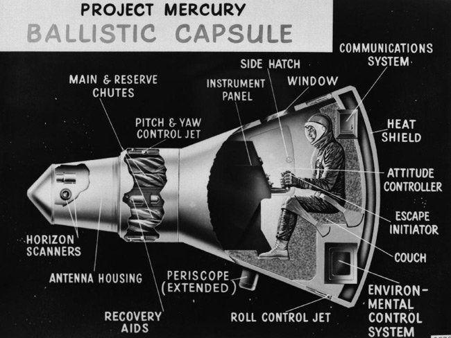 1959 cutaway illustration of the Mercury capsule. Pic: NASA