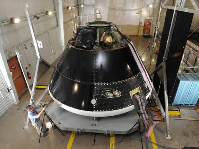 The Multi-Purpose Crew Vehicle being assembled and tested at Lockheed Martin's Vertical Testing Facility in Colorado. Photo: Lockheed Martin