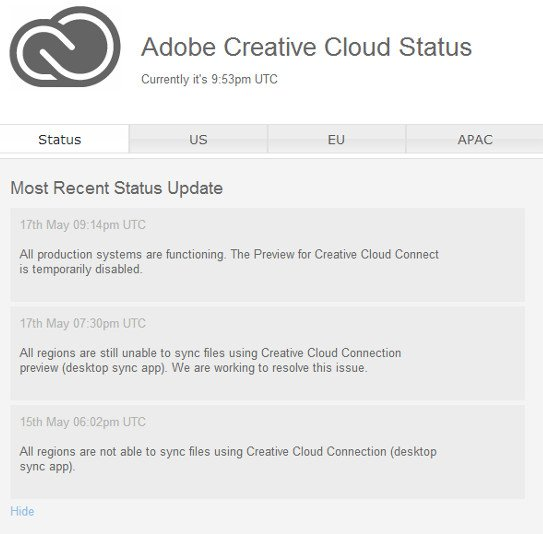 Adobe cloud connect fail