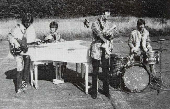 Photo of the Beatles performing I Am the Walrus during the filming of Magical Mystery Tour. Pic: Julien's Auctions