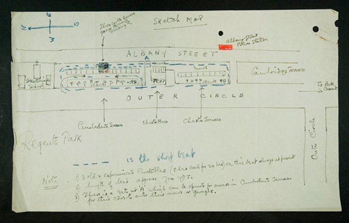 Sketch outlining police patrol around Wallis Simpson's house