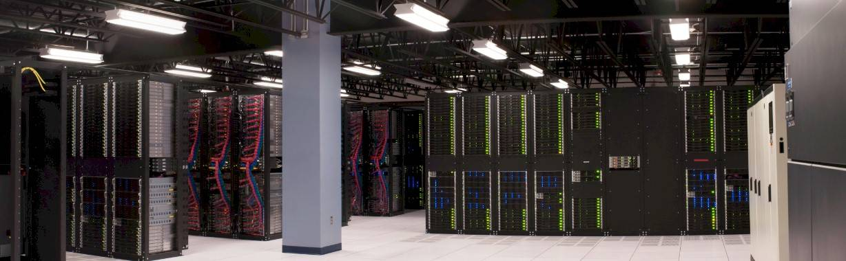 Panoramic view of a slice of a SoftLayer data center