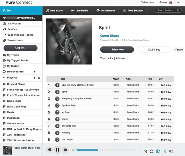 Pure Connect online music browser